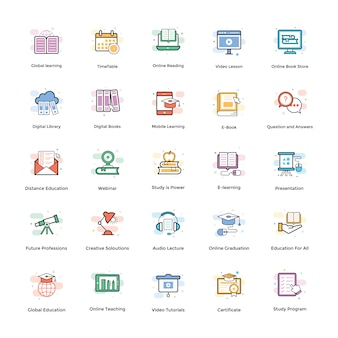 E-learning vektor icons pack