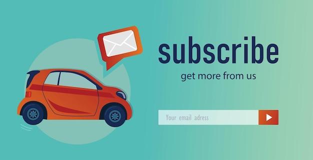 E-mail-abonnement-design mit schrägheck-auto. online-newsletter-vorlage für automobilkanal, geschäft oder webseite