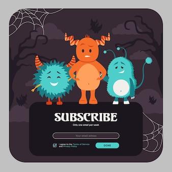 E-mail abonnieren design mit bunten lustigen monstern. online-newsletter-vorlage mit pelzigen kreaturen mit hörnern. feier und halloween-konzept. design für website-illustration