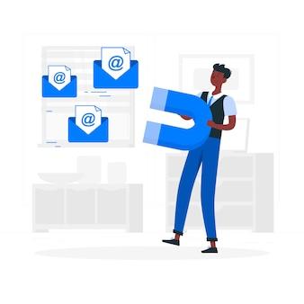 E-mail-capture-konzept illustration