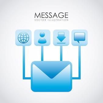 E-mail-design über weißer hintergrundvektorillustration