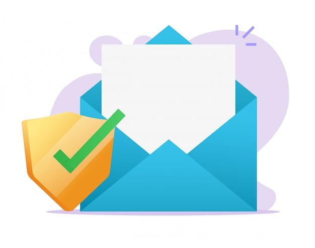 E-mail-dokument digitales sicheres schutzschildsymbol auf leere leere datei der e-mail