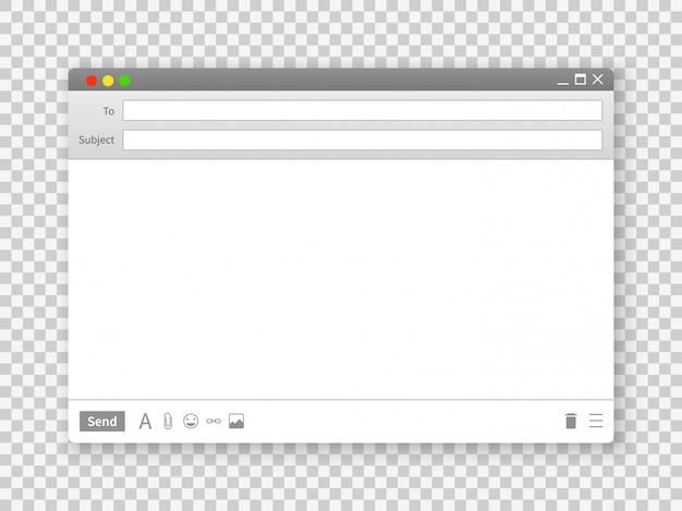 E-mail-fenster. schnittstellen der leeren textnachrichtenrahmenschnittstelle für internet-website auf transparentem hintergrundbild
