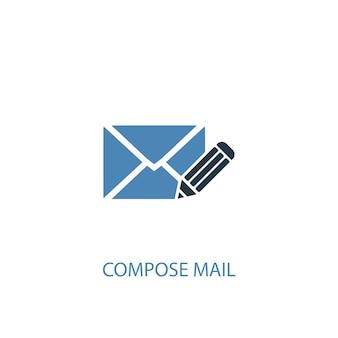E-mail-konzept 2 farbiges symbol verfassen. einfache blaue elementillustration. verfassen von mail-konzept-symbol-design. kann für web- und mobile ui/ux verwendet werden