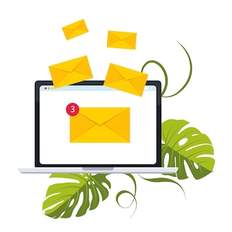 E-mail-konzept, dargestellt durch umschlag- und laptop-symbol. viele briefe in umschlägen fliegen aus dem laptop. vektor-illustration