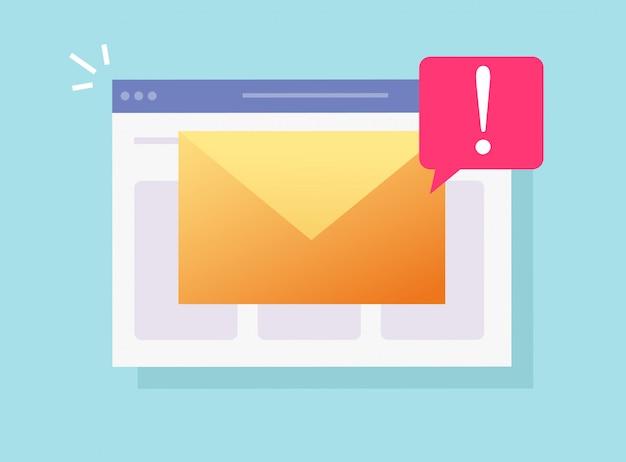 E-mail malware spam online wichtige benachrichtigung auf der website-seite oder web-internet-hacking-risiko warnung flache cartoon-symbol