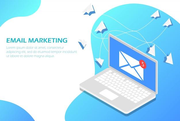 E-mail-marketing auf dem laptop