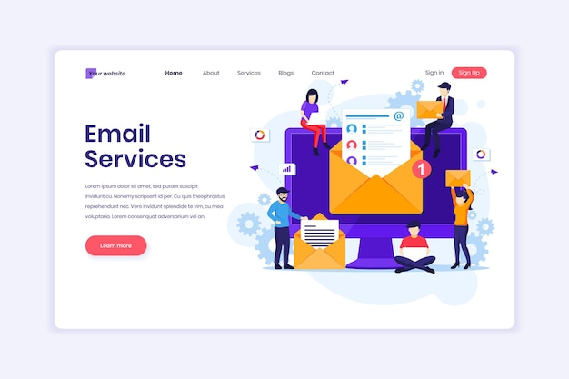 E-mail-marketing-dienste werbekampagne digitale werbung mit zeichenillustration