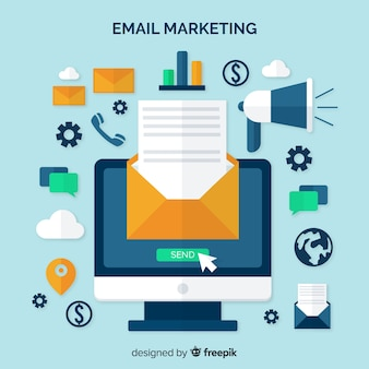 E-mail-marketing flachen hintergrund