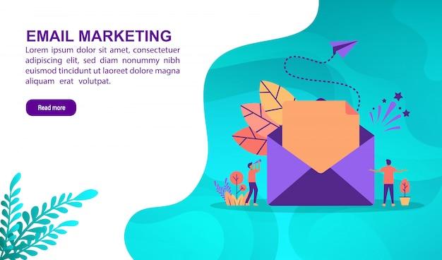 E-mail-marketing-illustrationskonzept mit charakter. zielseitenvorlage