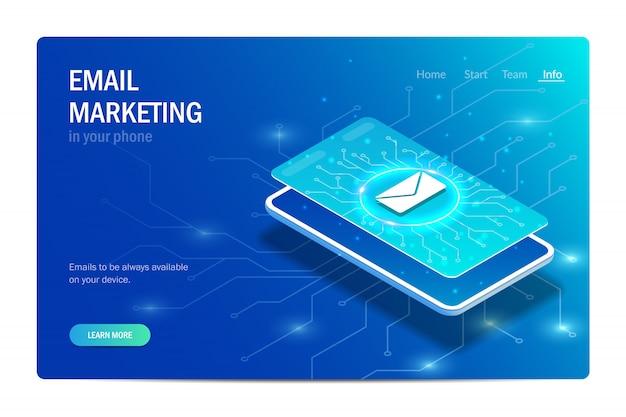 E-mail-marketing in ihrem telefon. buchstabensymbol auf dem smartphone-bildschirm.
