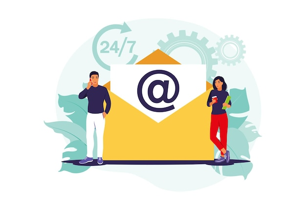 E-mail-marketing, internet-chat, 24-stunden-support-konzept. vektor-illustration. eben.