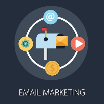 E-mail-marketing-kampagne isoliert auf dunkelheit
