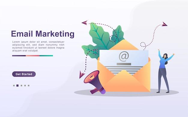 E-mail-marketing-konzept. e-mail-werbekampagne, e-marketing, zielgruppe mit e-mails erreichen. mail senden und empfangen.