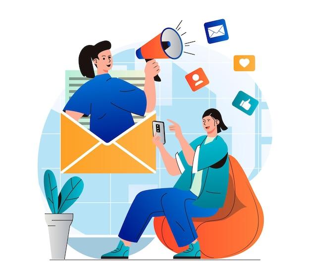 E-mail-marketing-konzept in modernem, flachem design frau, die newsletter in mobiler app erhält