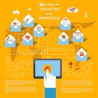 E-mail-marketing-konzept mit einem geschäftsmann, der einen tablet-computer verwendet, um einen stapel von e-mails zu versenden, die als umschläge gezeigt werden, die jeweils eine einzelhandels- oder handelsikonen-vektorillustration enthalten
