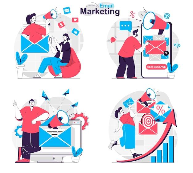 E-mail-marketing-konzept mit werbemailings zur förderung des geschäfts bei kunden