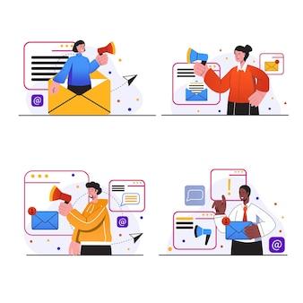 E-mail-marketing-konzeptszenen stellen leute ein, die werbemailings machen, die e-mails senden