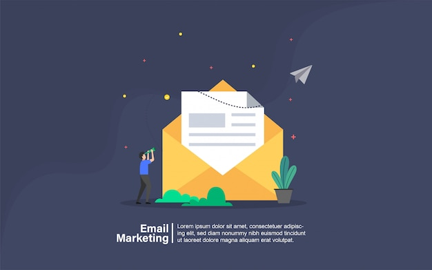 E-mail-marketing mit leutecharakterfahne