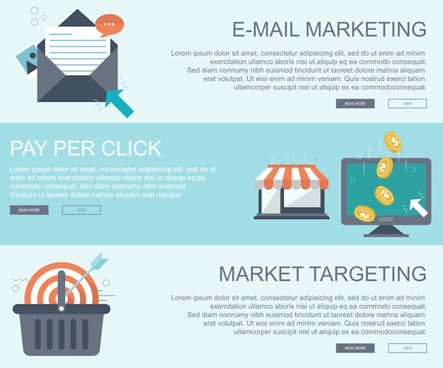 E-mail-marketing, pay-per-click und targeting-banner für den markt