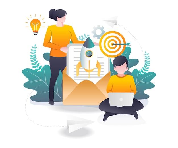E-mail-marketing und social-media-vertriebsstrategie
