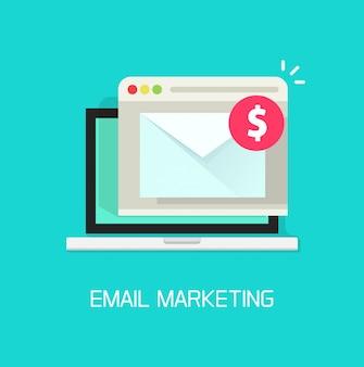 E-mail mit dem einkommensgeld empfangen in der flachen karikatur des laptop-computers oder des e-mail-marketing-einkommensvektors