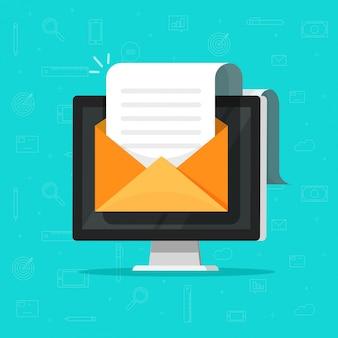 E-mail mit elektronischen dokumenten auf dem computer