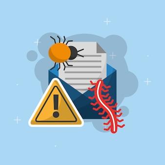E-mail-nachricht bug wurm warnung cyber-sicherheit
