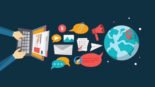 E-mail-nachricht im smartphone. idee der globalen kommunikation und benachrichtigung im postfach. illustration