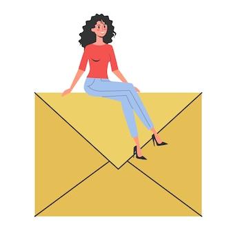 E-mail-nachrichten-konzept. idee der globalen kommunikation und benachrichtigung im postfach. brief im gelben umschlag. illustration