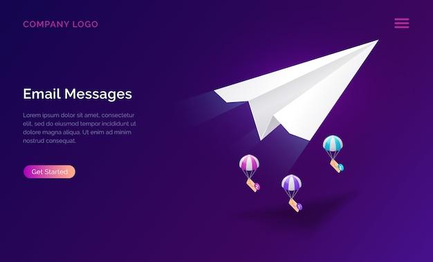 E-mail-nachrichtendienst, isometrisches marketingkonzept