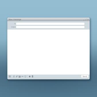 E-mail-nachrichtenschnittstelle mit sendeformularvorlage. formular mail-seite, benutzeroberfläche web-panel senden