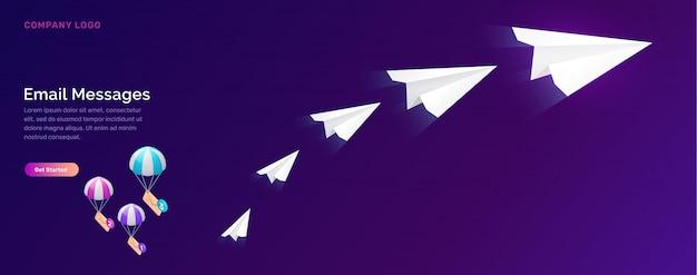 E-mail-nachrichtenservice, isometrisches marketingkonzept