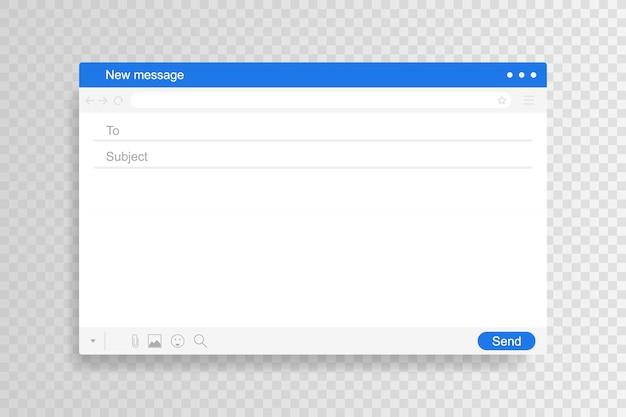 E-mail-schnittstelle. mail-fenster-vorlage, isolierter rahmen für internetnachrichten, leere e-mail. moderner flacher stil