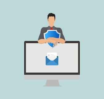 E-mail-schutz sicherheitsschild