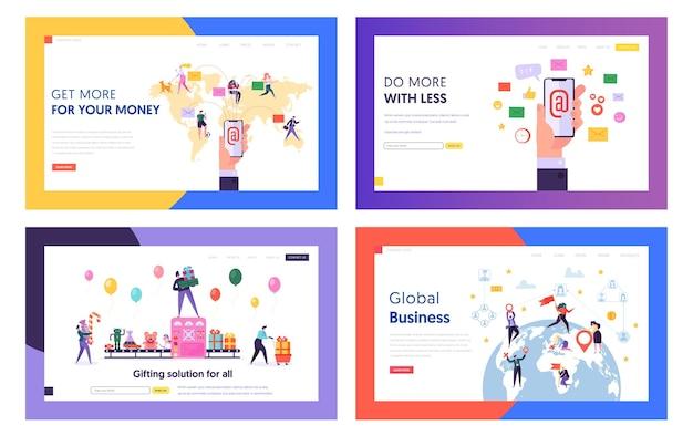 E-mail-service, globales geschäft, geschenke kauf website landing page templates set.