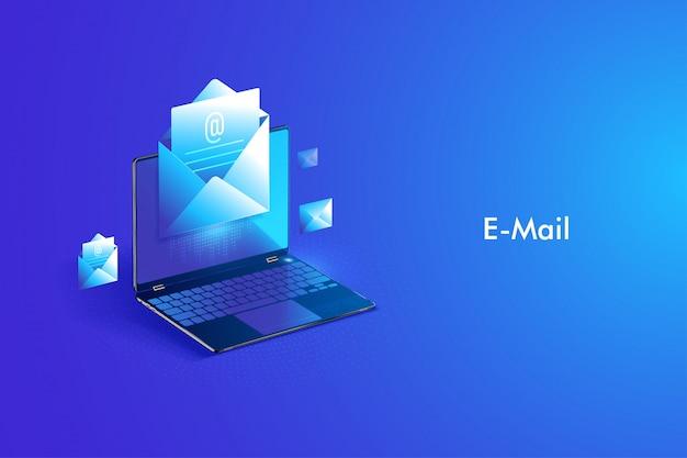E-mail-service isometrische gestaltung. e-mail-nachricht und webmail oder mobiler dienst