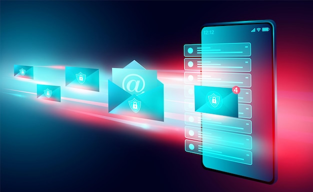E-mail-service-sicherheit sowie e-mail-nachricht und webmail auf dem smartphone