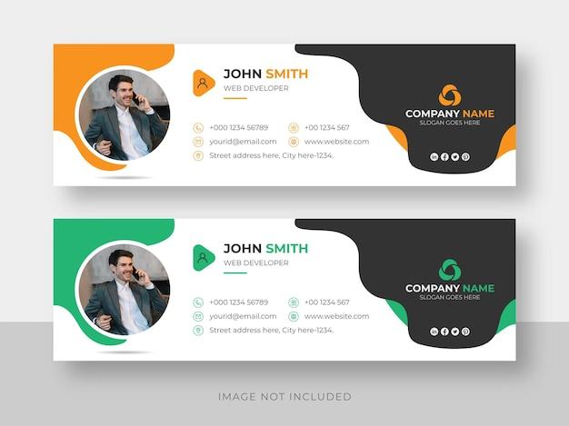 E-mail-signatur oder e-mail-fußzeile und persönliche facebook-cover-designvorlage für soziale medien