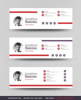E-mail-signatur-vorlagendesign oder e-mail-fußzeile oder persönliches social-media-cover
