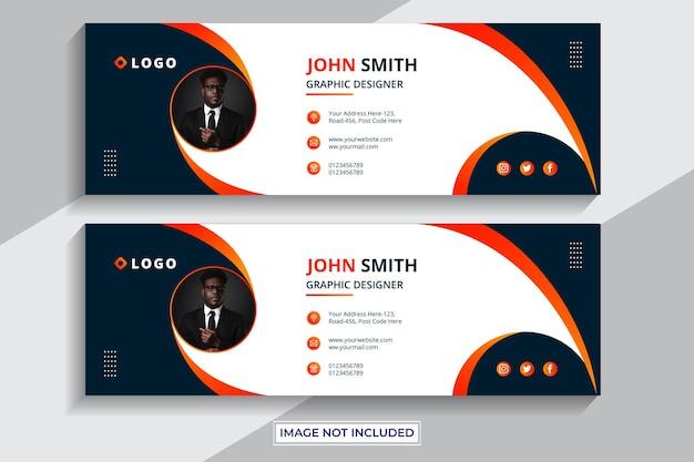 E-mail-signatur-vorlagendesign oder e-mail-fußzeile und persönliches social-media-cover premium-vektor