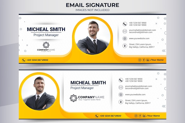 E-mail-signaturfußzeile und social media-banner-vorlage