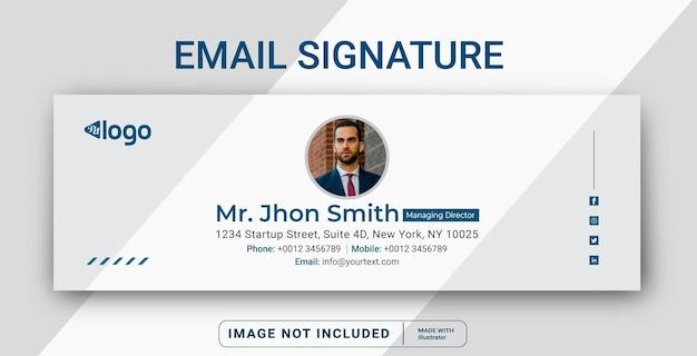 E-mail-signaturvorlagendesign oder e-mail-fußzeile und persönliches social-media-cover