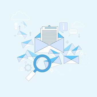 E-mail-suchdigitale inhalt-informationstechnologie-geschäfts-vektor-illustration