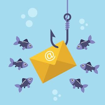E-mail-umschlag an angelhaken und herumschwimmenden fischen