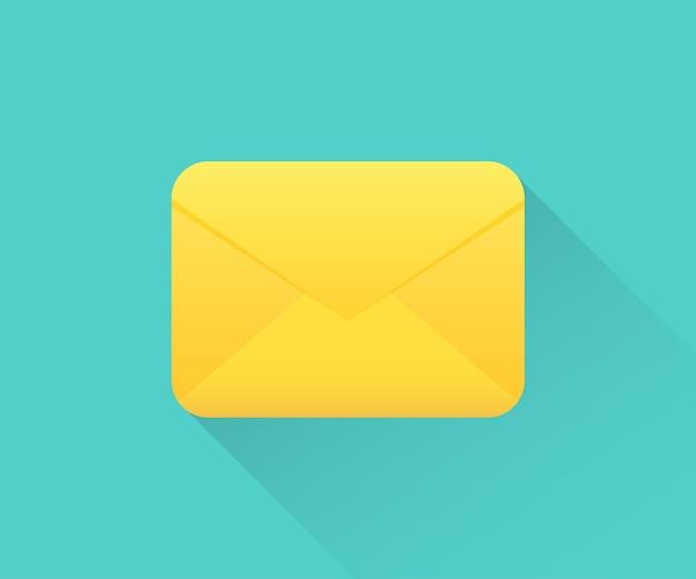 E-mail-umschlagsymbol mit langem schatten. symbol für geschlossenen umschlag