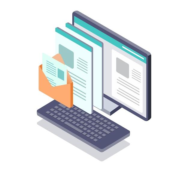 E-mail und daten neben dem computer