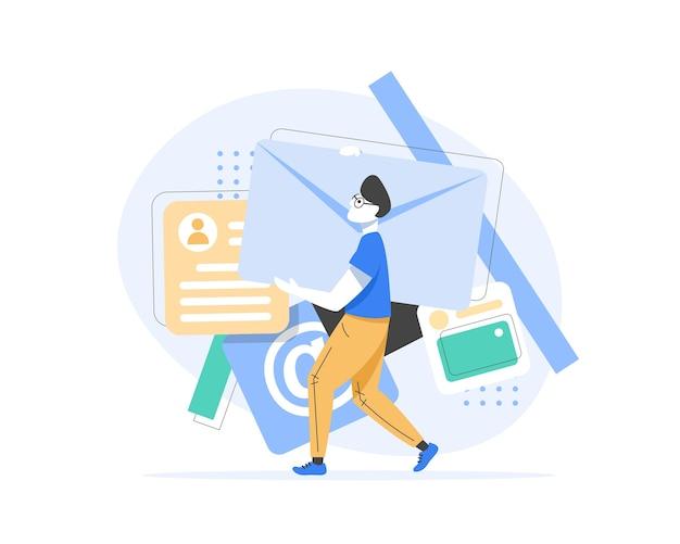 E-mail und messaging, e-mail-marketingkampagne, arbeitsprozess, neue e-mail-nachricht