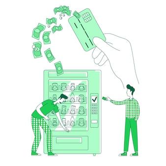 E-pay, bargeldloses einkaufen dünne linie konzept illustration. menschen, die getränke, männer und automaten 2d-zeichentrickfiguren für webdesign kaufen. kreative idee für den einzelhandel und das nfc-system