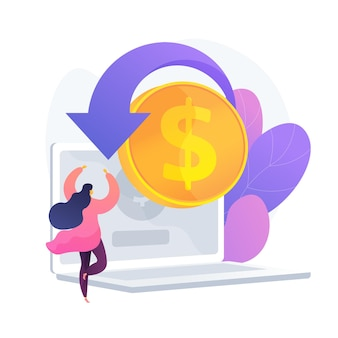 E shopping cartoon web-symbol. online-shop, cashback-service, geldrückgabe. finanzielle rückerstattung idee. kapitalrendite. internet-einkommen. vektor isolierte konzeptmetapherillustration
